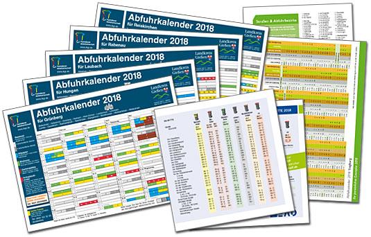 Gedruckte Abfallkalender mit Straßenlisten und Abfuhrterminen